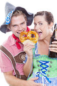 Happy bavarian couple — Stock Photo