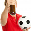 Holding a beer — Stock Photo