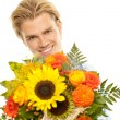Smiling face flowers — Stock Photo