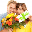 Coupon and flowers — Stock Photo
