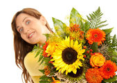 Crazy look with flowers — Stock Photo