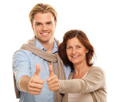 Son and mother in studio — Stock Photo