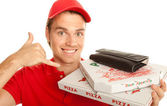Happy smiling pizzaboy — Stock Photo