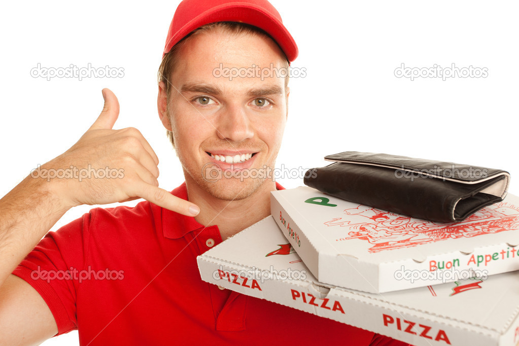 Pizzaman with sign   Stock Photo #6140031