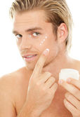 Man creme skin — Stock Photo