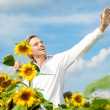 Man happy with sunflower — Stock Photo #6357635