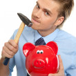 Businessman with piggybank — Stock Photo