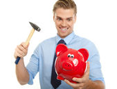 Crazy man with hammer — Stock Photo