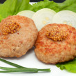 Stock Photo: Two cutlets with mustard