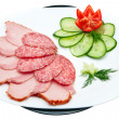 Sausage and ham with vegetables - Stock Photo