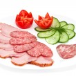 Salami and ham - Stock Photo