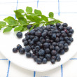Blueberry on a saucer - Stock Photo