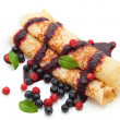 Pancakes with berries - Stock Photo