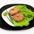 Fried cutlets with vegetables - Stock Photo