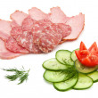 Salami, ham and vegetables - Stock Photo