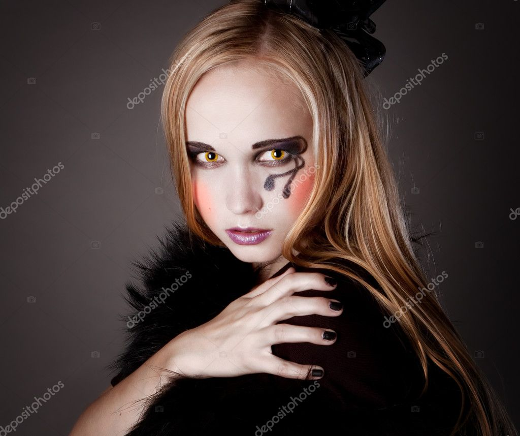 pretty girl makeup as a witch stock photo yatigra 6673428. Black Bedroom Furniture Sets. Home Design Ideas