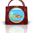 Handbag with Fishbowl — Stock Photo