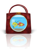 Handbag with Fishbowl — Stock Photo