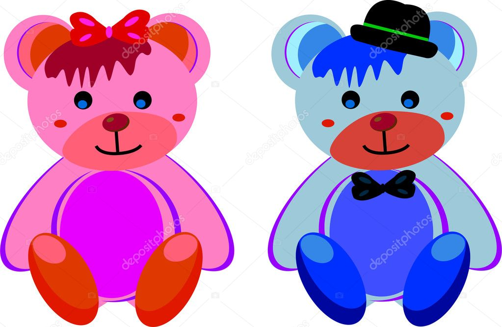 The teddy bear girl and the teddy bear boy — Stock Vector #6009478
