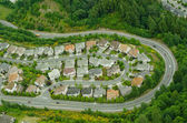 Windy Hillside Road - Aerial — Stock Photo