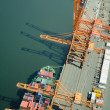 Ship at Dock - Aerial - Stock Photo