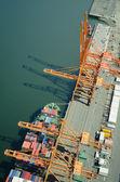 Ship at Dock - Aerial — Stock Photo
