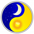 Day and night Yin and Yang - Stock Vector
