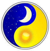 Day and night Yin and Yang — Stock Vector