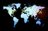 World map with radioactive logo — Stock Photo