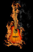 Fire guitar — Foto Stock
