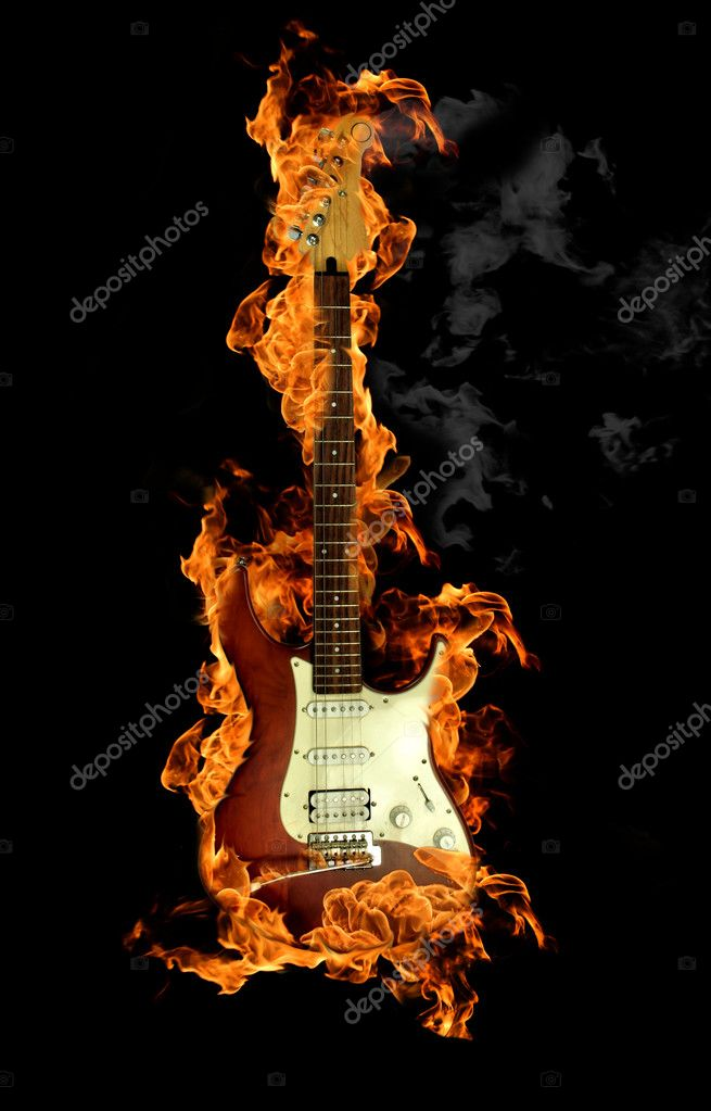 Flaming electric guitar on black background — Stock Photo #6003637
