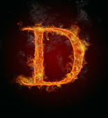 Flaming font, letter D — Stock Photo