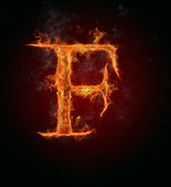 Flaming font, letter F — Stock Photo
