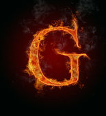 Flaming font, letter G — Stock Photo