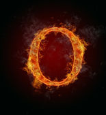 Flaming font, letter O — Stock Photo