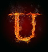 Flaming font, letter U — Stock Photo