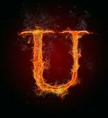 Flaming font, letter U — Stock Photo