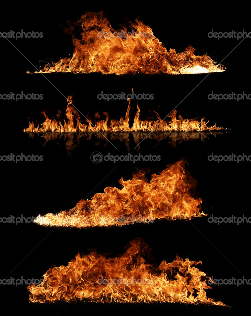 High resolution fire collection on black background — Stock Photo #6027671