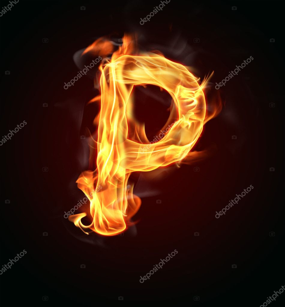 Burning fire alphabet font  Stock Photo #6330215