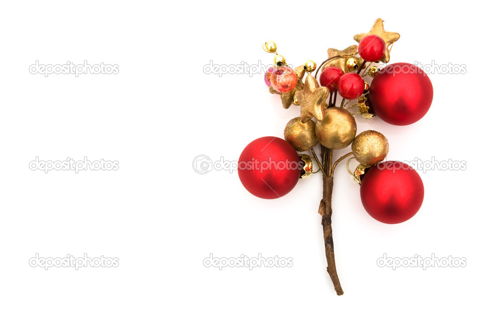 A red and gold glass christmas ornament isolated on a white background, christmas ornament background — Stock Photo #5987720