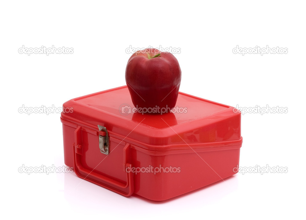 A red lunchbox with an apple isolated on white, Healthy School Lunch — Zdjęcie stockowe #6011758