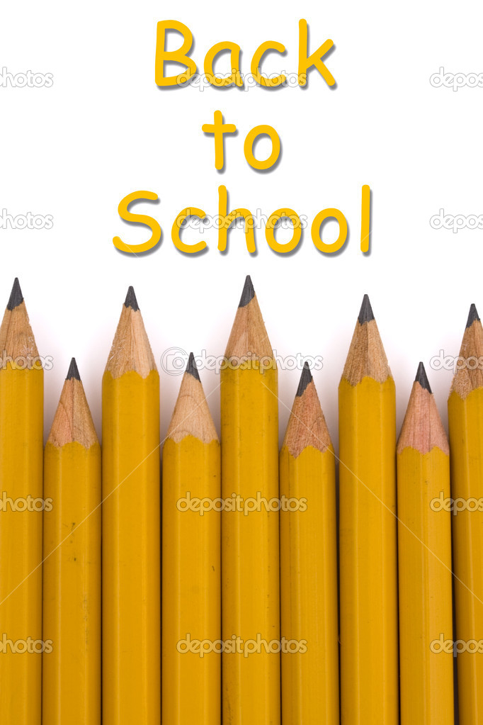 A yellow pencil border with text isolated on a white background, Back to School — Stock Photo #6011761