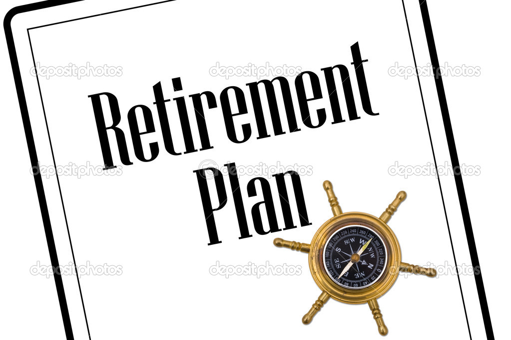 A retirement plan with a compass isolated on a white background, Planning your retirement — Stock Photo #6143659