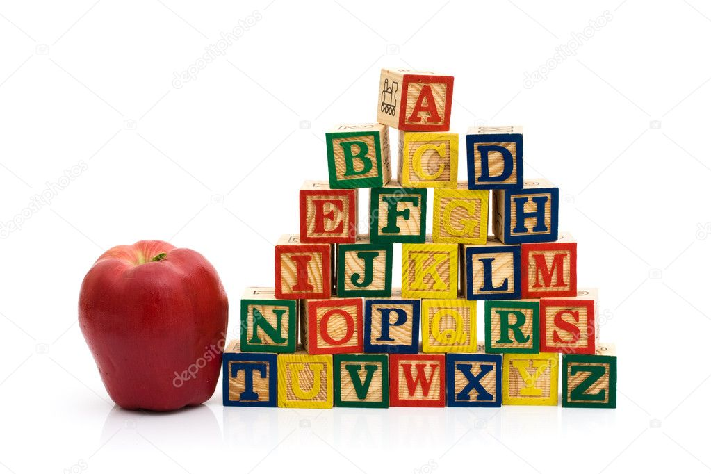 A stack to color wooden blocks of the alphabet with an apple isolated over white, Schools Days — Stock Photo #6290996