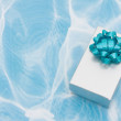 Royalty-Free Stock Photo: A silver present with bow on aqua background