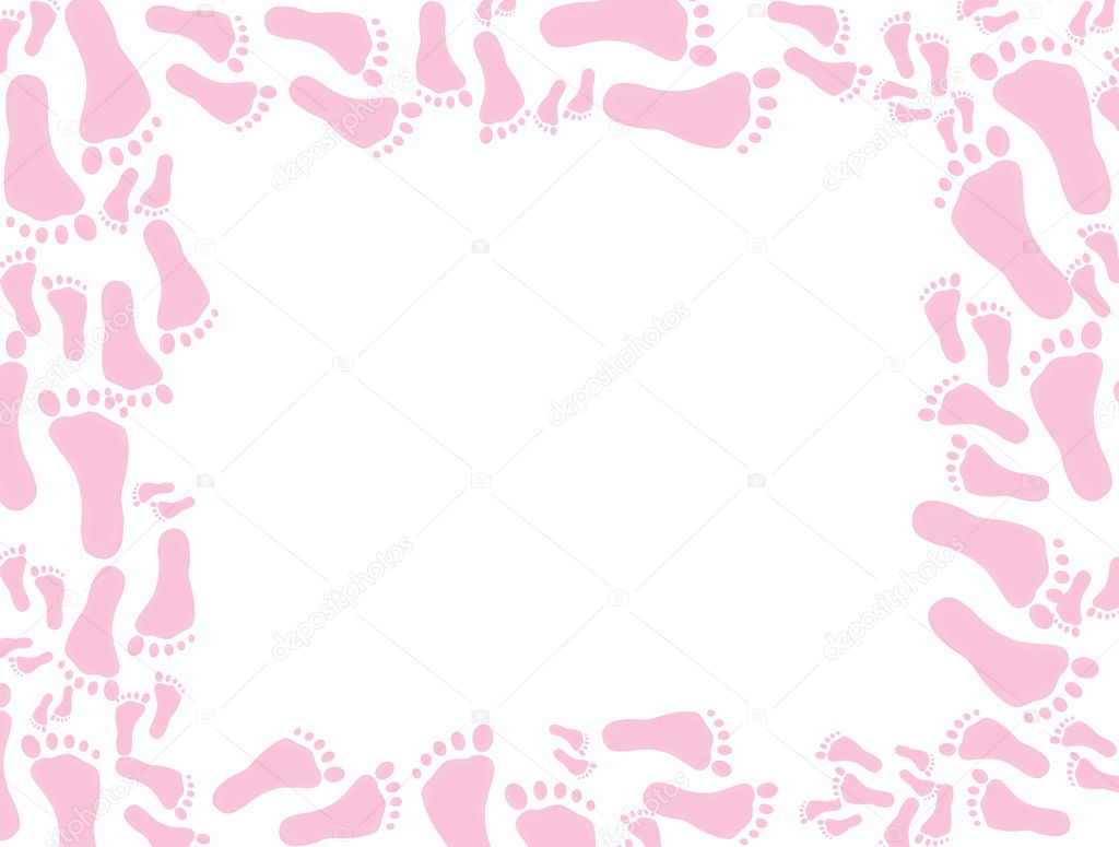 Pink footprints on a white background, baby pink footprints background ...