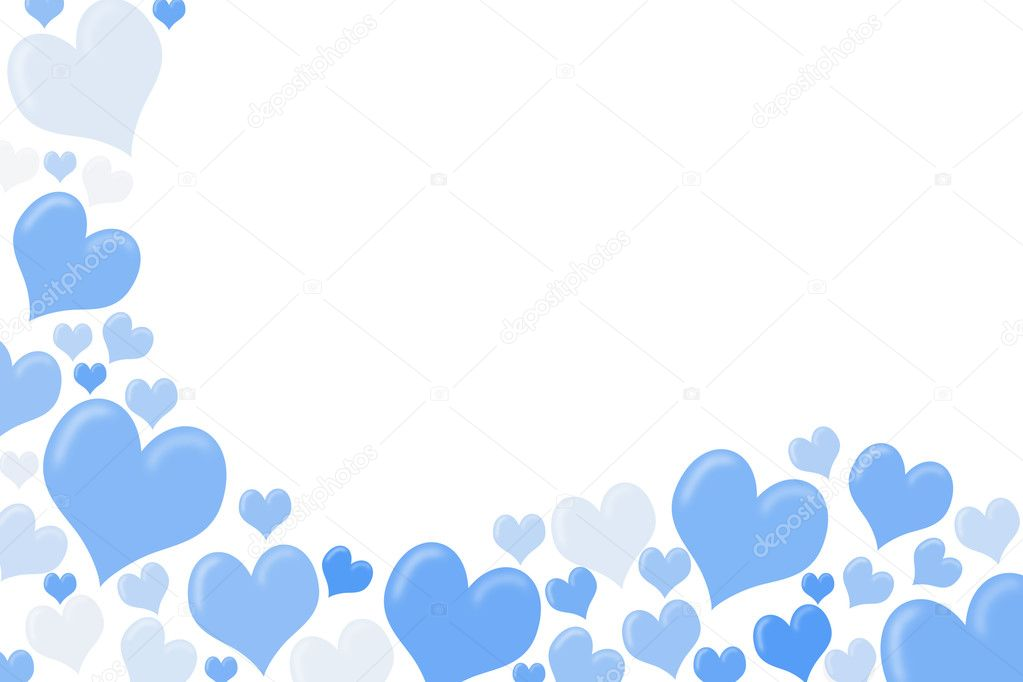 White and blue hearts making a border on a white background, heart background — Stock Photo #6319676