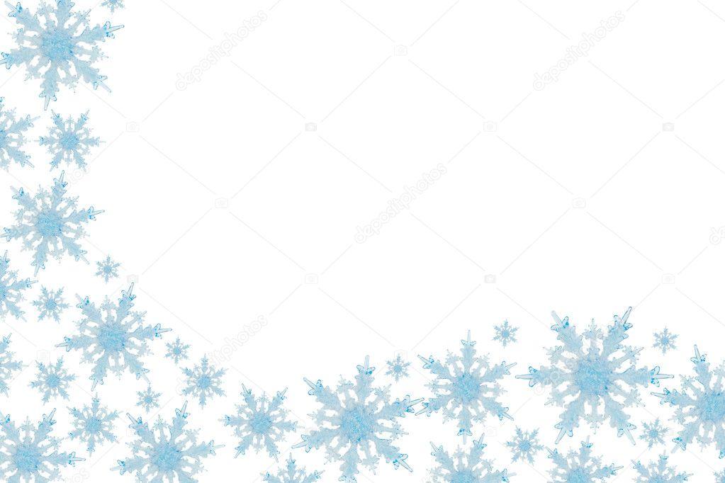 雪花边框具有白色背景,冬季时间— 照片作者 karenr