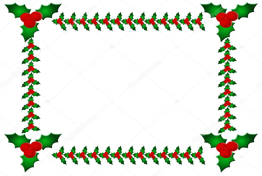 Holly leaves and berries on a white background, holly and berries border — Stock Photo #6326440