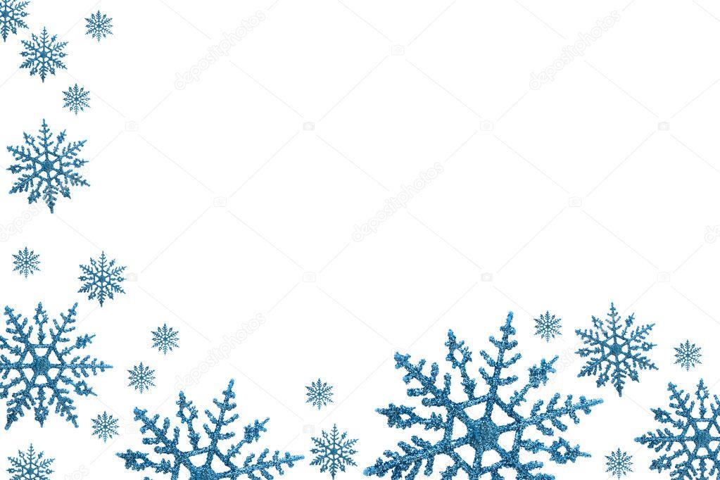 雪花边框具有白色背景